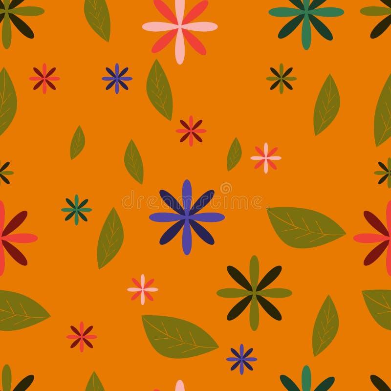 Sömlös modell för härlig vektor med handen som drar löst botaniskt och blommor, färgrik illustration stock illustrationer