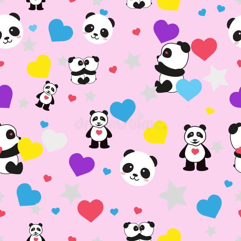 Sömlös modell för härliga pandor på en rosa bakgrund royaltyfri illustrationer