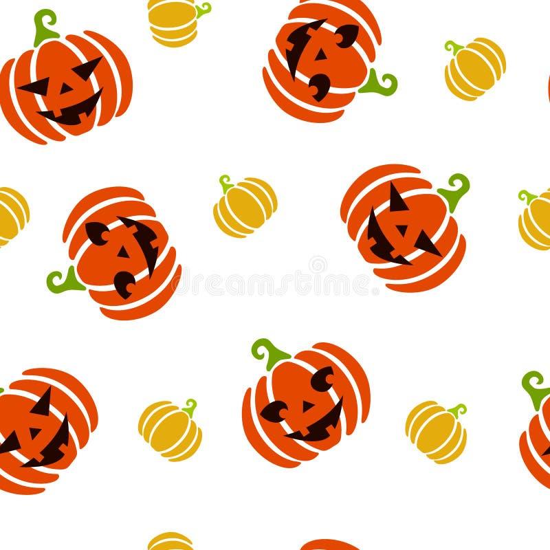 Sömlös modell för höst av orange och gula stora och små pumpor med sned läskiga och gulliga framsidor halloween pumpor royaltyfri illustrationer