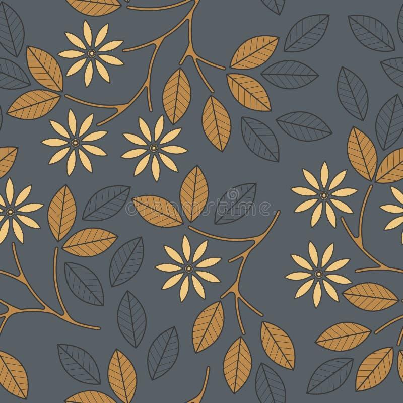 Sömlös modell för höst med den dekorativa sidor, blommor och linjen royaltyfri illustrationer