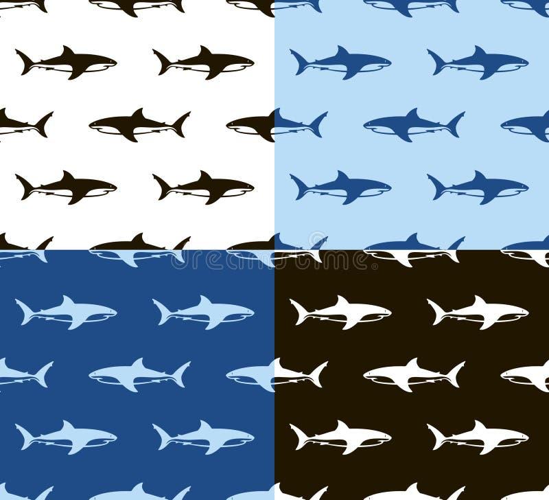 Sömlös modell för hajar Svart, vit och blått stock illustrationer