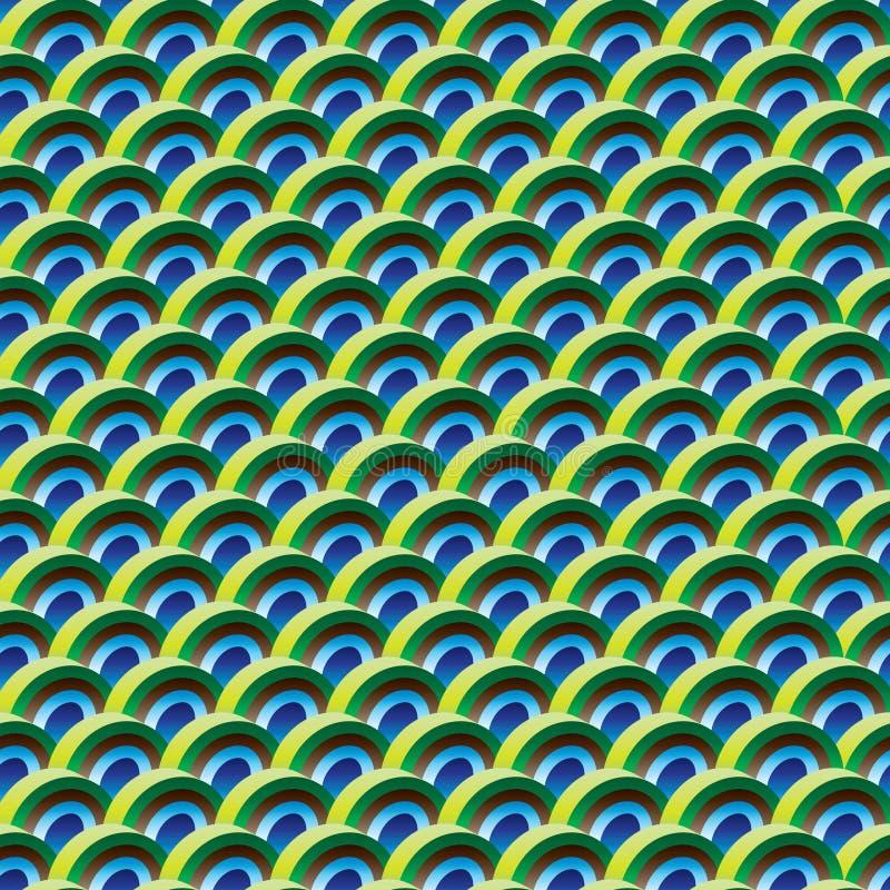 Sömlös modell för halv för påfågelfärg för cirkel 3d symmetri stock illustrationer