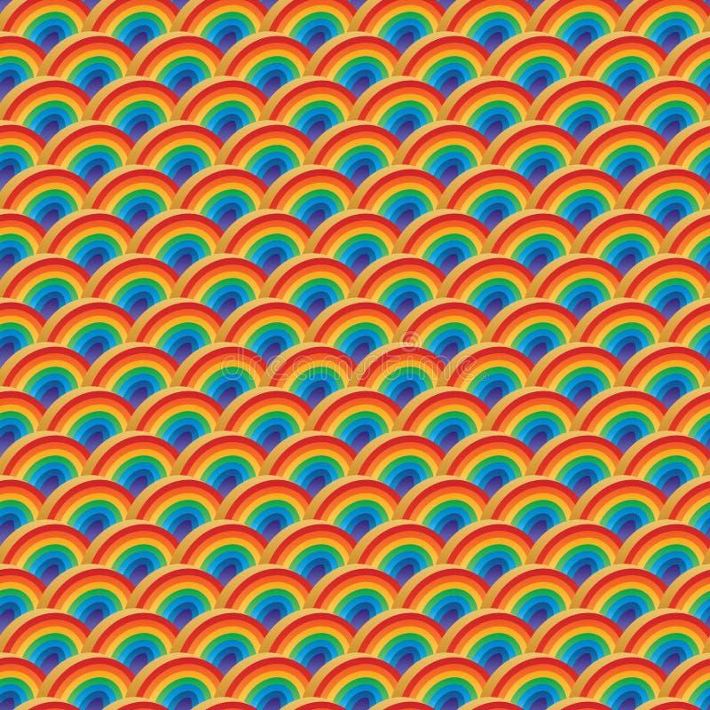 Sömlös modell för halv för regnbågefärg för cirkel 3d symmetri stock illustrationer