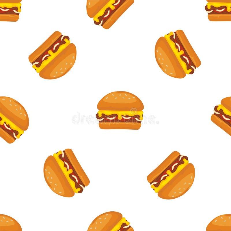 Sömlös modell för hamburgare- eller snabbmattecknad filmvektor stock illustrationer