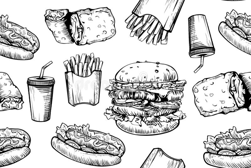 Sömlös modell för hamburgare på vit bakgrund Utdragen hamburgare för hand och franska småfiskar Snabbmat skräpmatmodell royaltyfri illustrationer