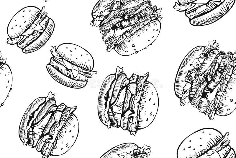 Sömlös modell för hamburgare Utdragen hamburgare för hand och franska småfiskar Snabbmat skräpmatmodell amerikansk mat hamburgare stock illustrationer