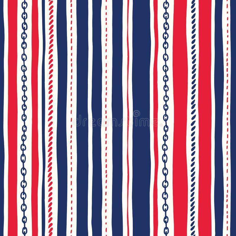 Sömlös modell för Hand-dragit rep och vektor för band för vertikala band för kedjor för ojämn Röda vita och blåa Marine Backgroun stock illustrationer
