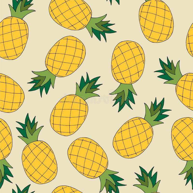 Sömlös modell för handattraktion av ananas också vektor för coreldrawillustration royaltyfri illustrationer