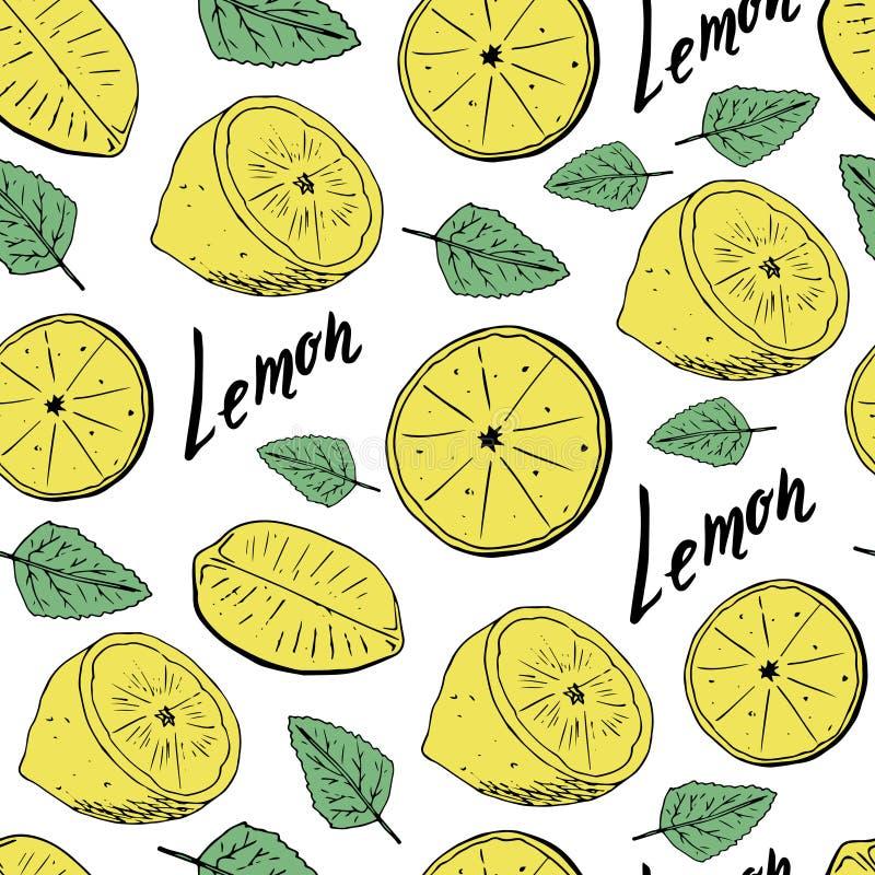 Sömlös modell för handattraktion av citroner med sidor också vektor för coreldrawillustration stock illustrationer