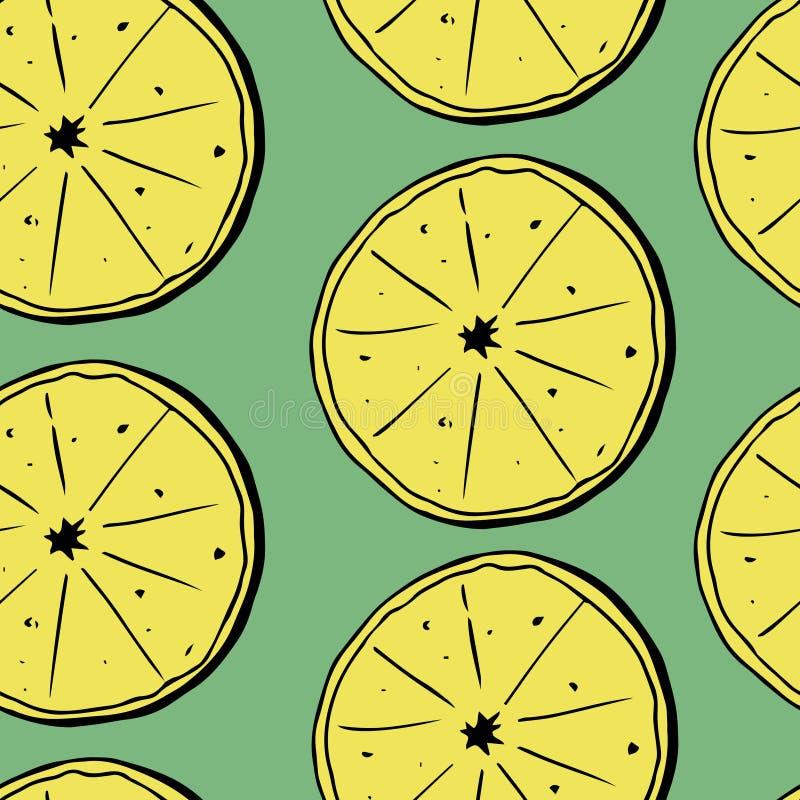 Sömlös modell för handattraktion av citroner med sidor också vektor för coreldrawillustration royaltyfri illustrationer