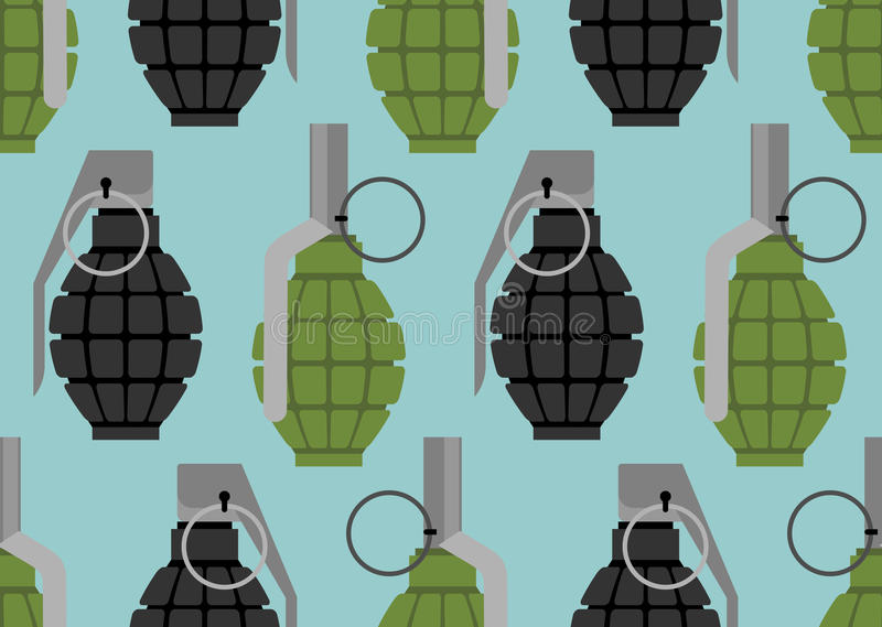 Sömlös modell för handgranat Militär ammunitiontextur vektor illustrationer