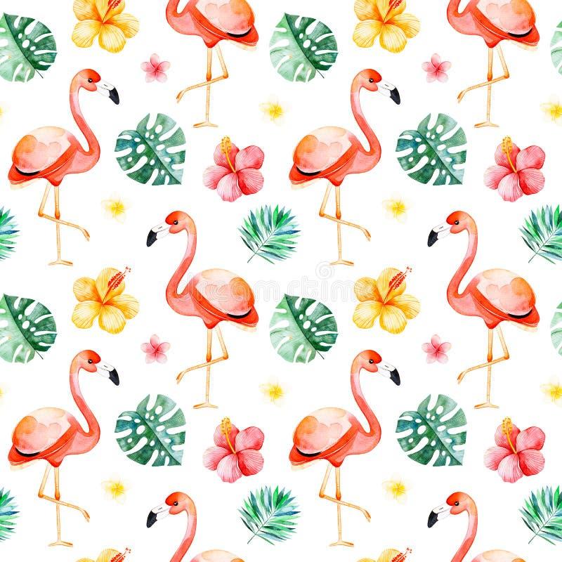 Sömlös modell för Handpainted vattenfärg med den mångfärgade blomman, tropiska sidor, flamingofågel vektor illustrationer