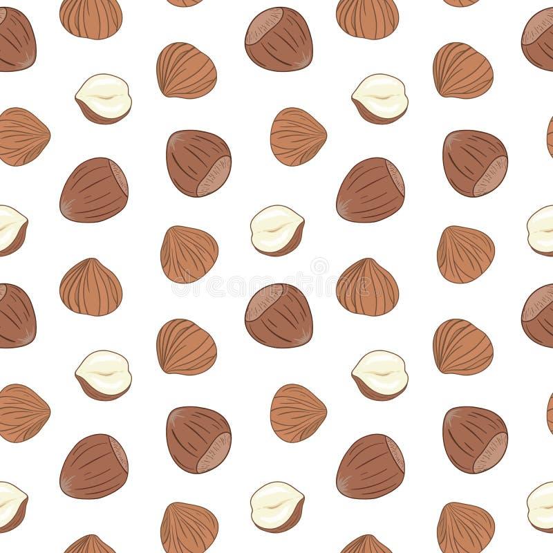 Sömlös modell för hasselnötter tecknad handvektor royaltyfri illustrationer