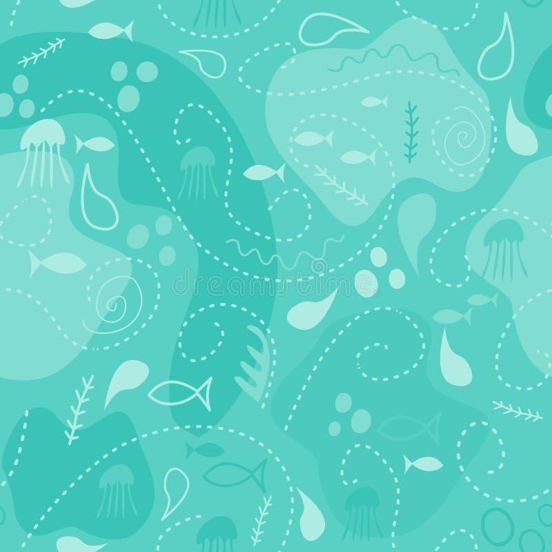 sömlös modell för havsvärld, under vattenvärldstapeten med fisken, bläckfisken och vegetation vektor illustrationer