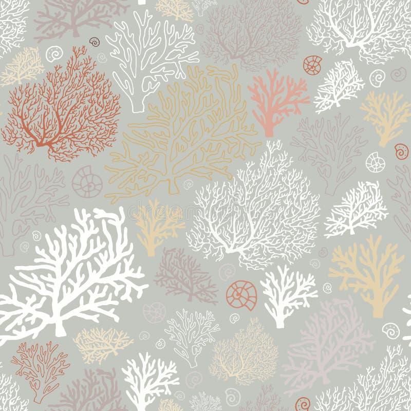 Sömlös modell för havvärld med koraller och skal royaltyfri illustrationer