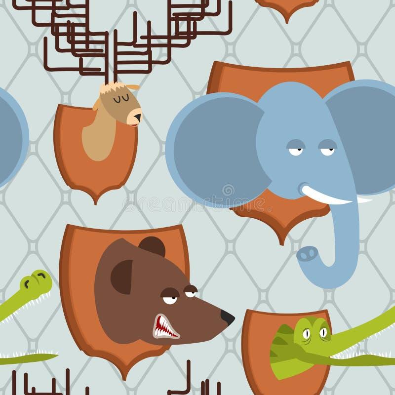 Sömlös modell för Head djur jägaretrofé Elefant och björn M vektor illustrationer