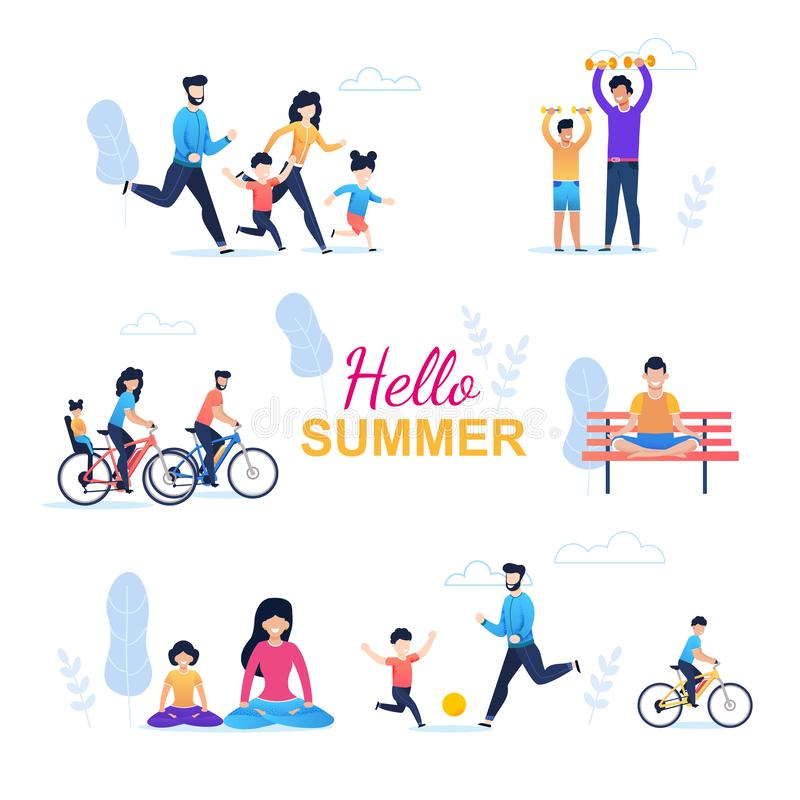 Sömlös modell för Hello sommar med den lyckliga familjen stock illustrationer