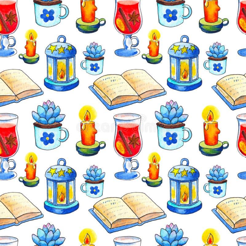 Sömlös modell för hemtrevlig höst Handdrawn vattenfärgbok och stearinljus på vit bakgrund royaltyfri illustrationer