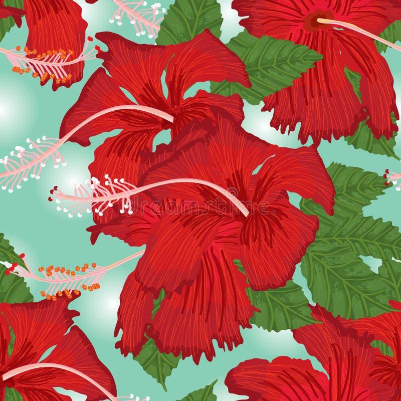 Sömlös modell för hibiskusblomma royaltyfri illustrationer