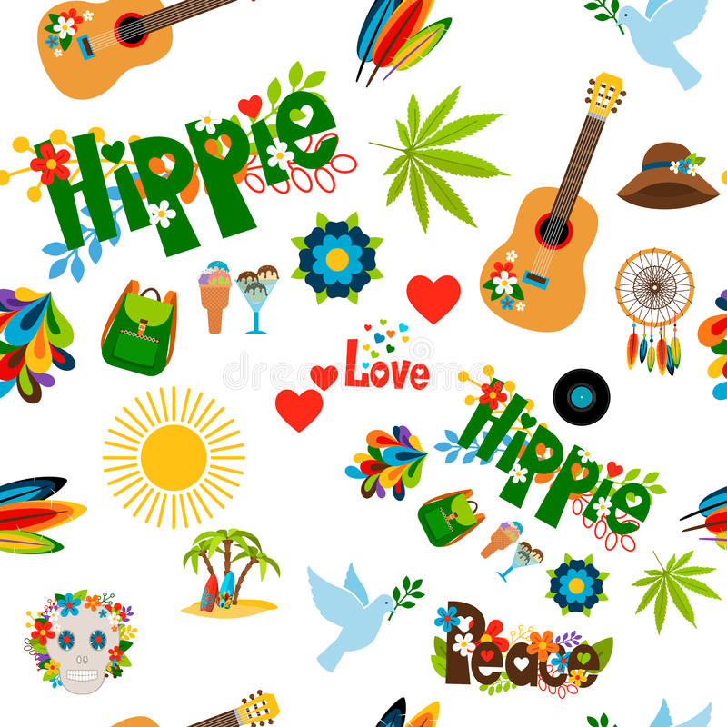 Sömlös modell för hippietecken royaltyfri illustrationer