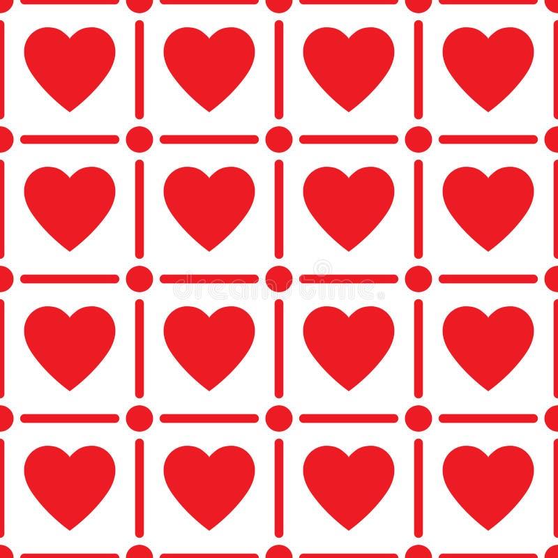 Sömlös modell för hjärta, ändlös textur Röda hjärtor på vit bakgrund, vektorillustration Modell för dag för valentin`s royaltyfri illustrationer