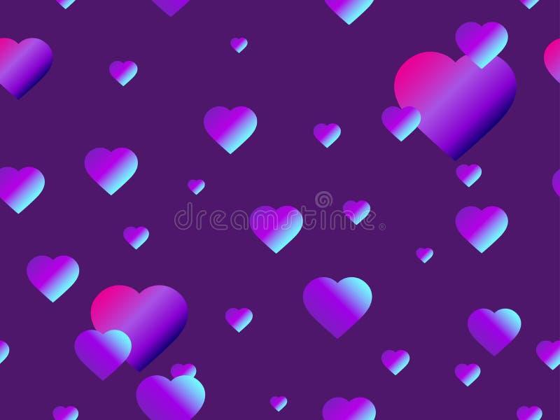 Sömlös modell för hjärtor med purpurfärgad lutning Futuristisk modern trend vektor royaltyfri illustrationer