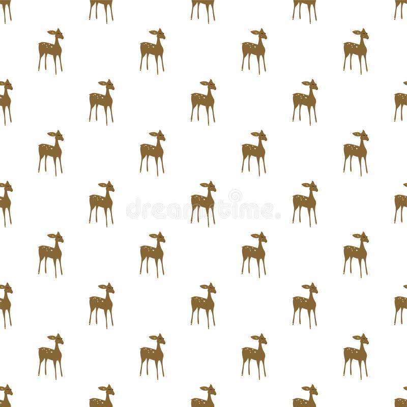 Sömlös modell för hjorttecknad filmvektor royaltyfri illustrationer