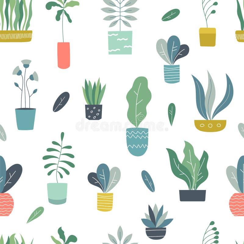 Sömlös modell för Houseplants Abstrakta geometriska inomhus blomkrukor med trädgårdväxter och suckulenter Vektorväxter royaltyfri illustrationer