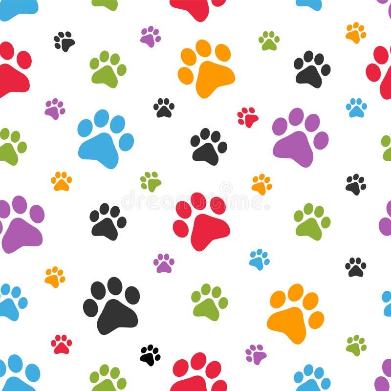 Sömlös modell för hundfotspår royaltyfri illustrationer
