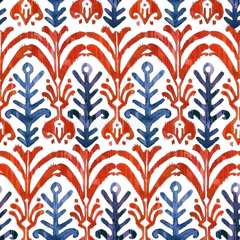 Sömlös modell för Ikat vattenfärg Blom- vibrerande akvarell royaltyfri foto
