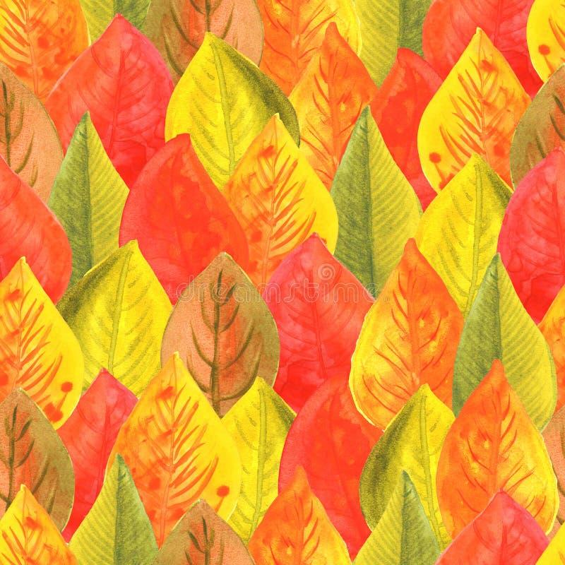 Sömlös modell för illustrationvattenfärg av höstsidor Hösten färgar röd orange guling stock illustrationer