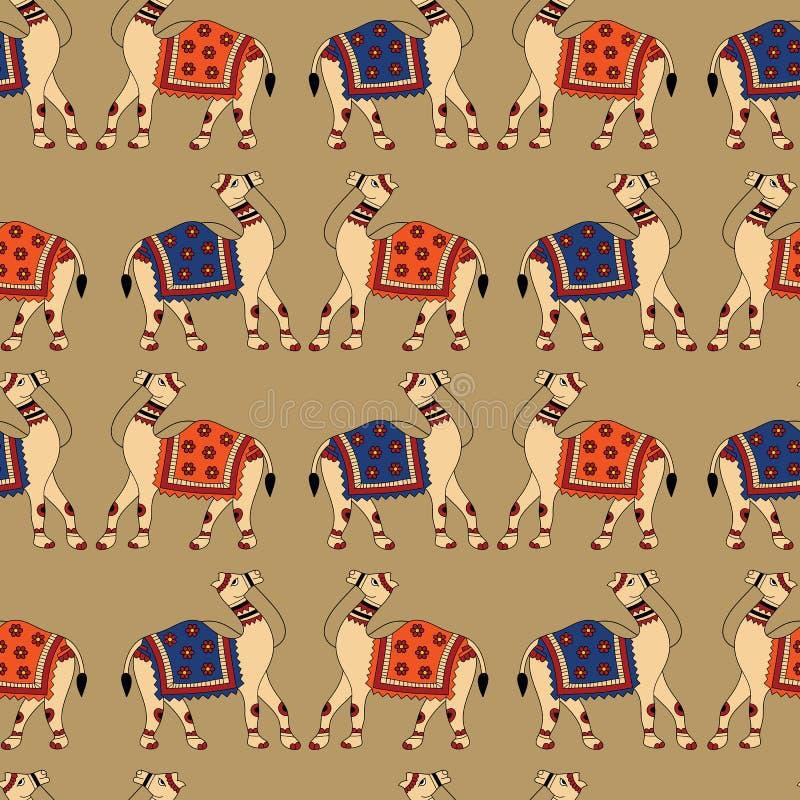 Sömlös modell för indierKalamkari kamel royaltyfri illustrationer
