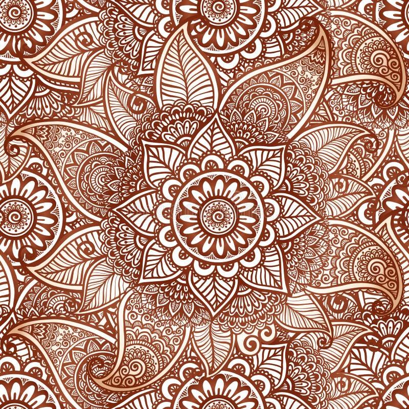 Sömlös modell för indisk för mehndihennatatuering vektor för stil royaltyfri illustrationer