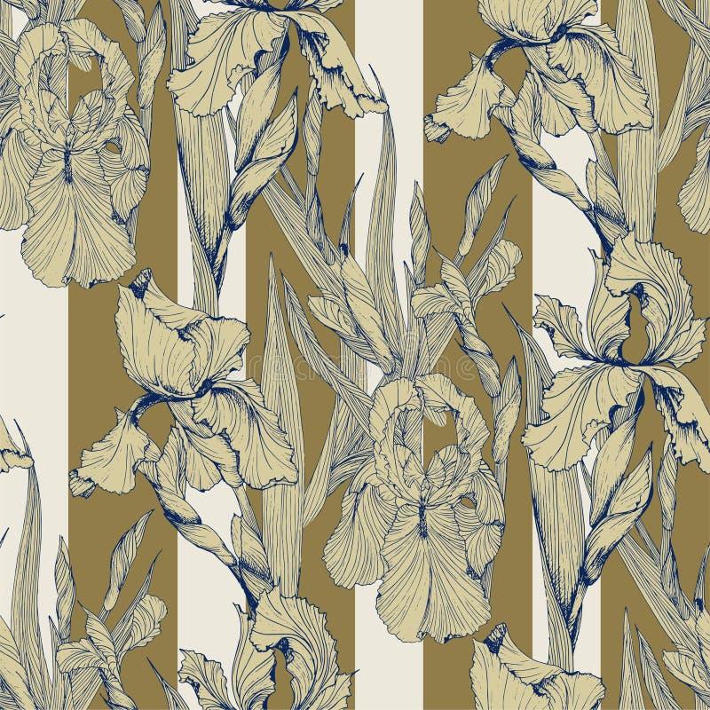 Sömlös modell för irisblommavektor stock illustrationer
