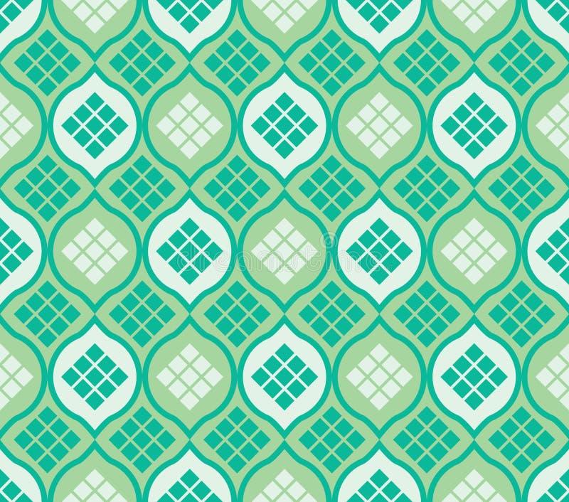 Sömlös modell för islamfönsterketupat vektor illustrationer