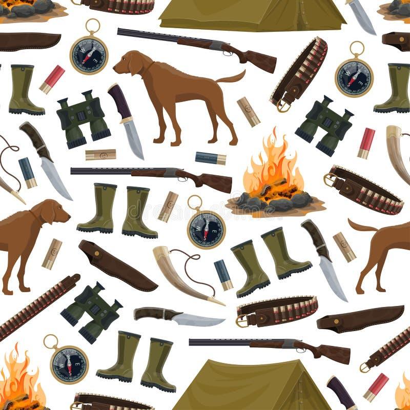 Sömlös modell för för jaktutrustning och ammo stock illustrationer