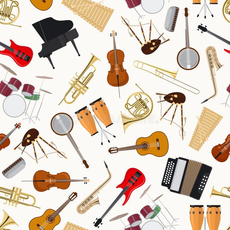 Sömlös modell för jazzmusikinstrument royaltyfri illustrationer