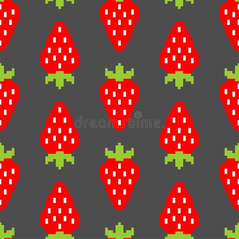 Sömlös modell för jordgubbePIXELkonst Bärbakgrund 8bit Sommartextur Vektorn behandla som ett barn torkdukeprydnaden royaltyfri illustrationer