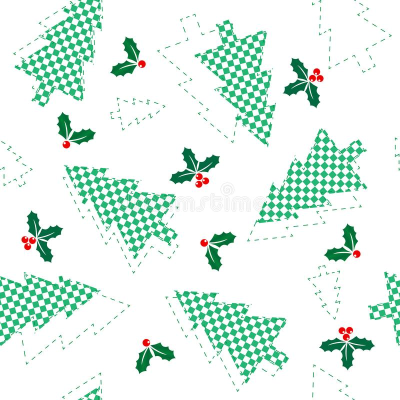 Sömlös modell för jul av schackträd och järnekfilialer, begrepp av jul och nytt år vektor illustrationer