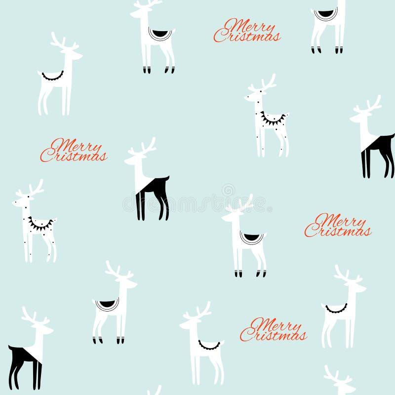 Sömlös modell för jul av svarta vita hjortar på mintkaramellbakgrund royaltyfri illustrationer