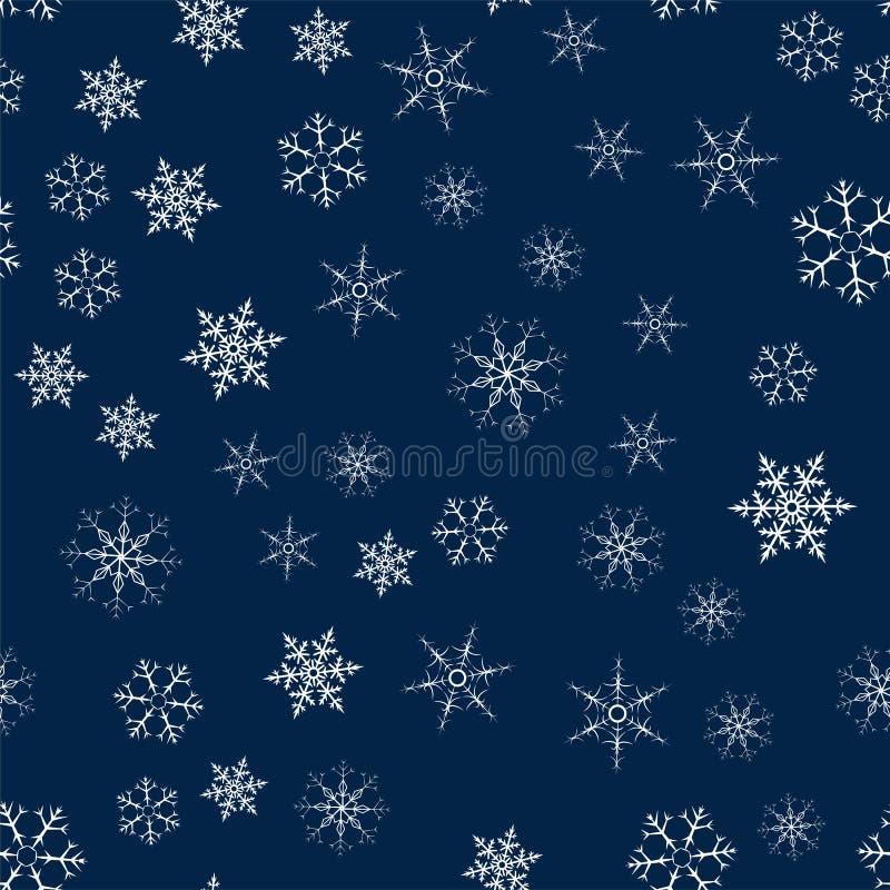 Sömlös modell för jul från snöflingor Festlig textur för nytt år för designvykort, inbjudningar, hälsningar och kläder vektor illustrationer