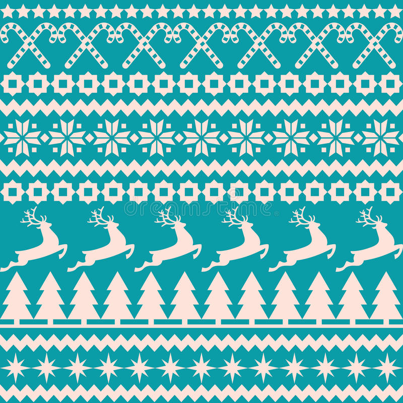 Sömlös modell för jul i den nordiska stilen stock illustrationer