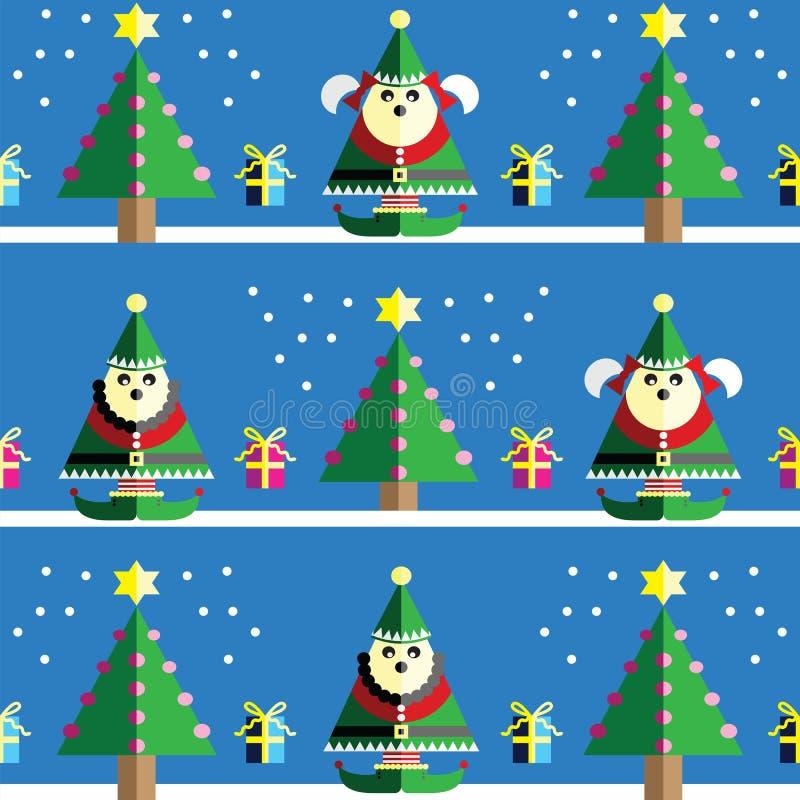 Sömlös modell för jul med den manliga och kvinnliga älvan med gåvor med bandet, snö, Xmas-träd med rosa färger, blått, orange lju royaltyfri illustrationer