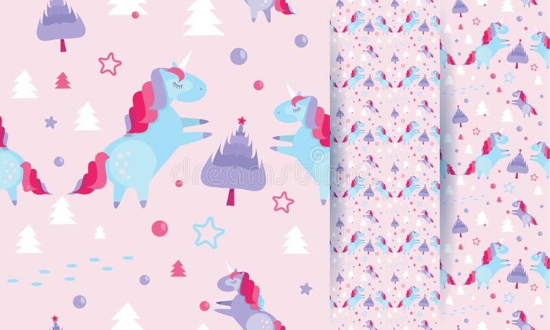 Sömlös modell för jul med enhörningar, granträd, bollar, stjärnor på rosa bakgrund Semestra mallen med julenhörningen och stock illustrationer