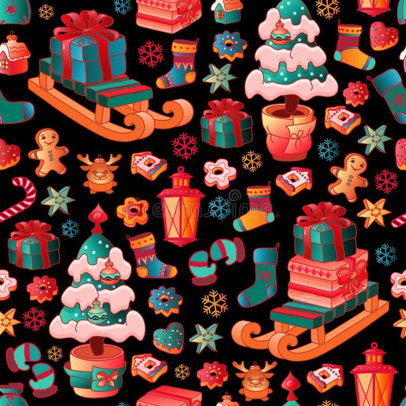 Sömlös modell för jul med färgrik leksaker vektor stock illustrationer