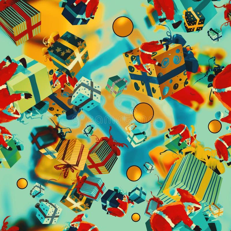 Sömlös modell för jul med gåvaaskar vektor illustrationer