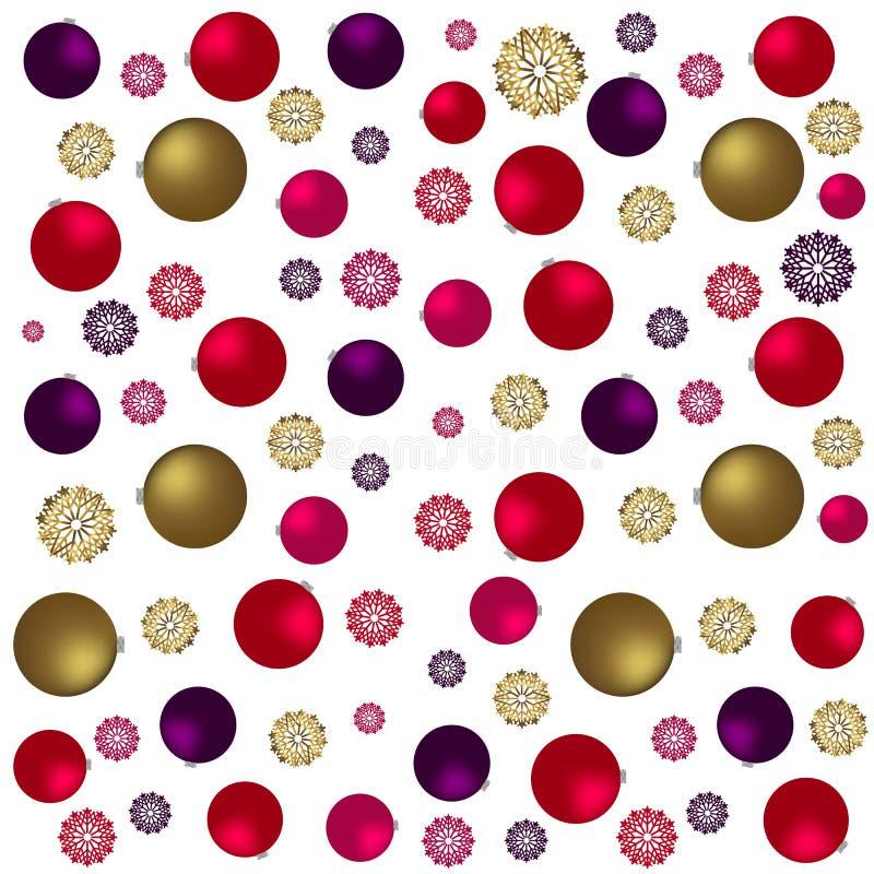 Sömlös modell för jul med guld- leksaker, stjärnor och godisen Festliga burgundy och guld- bakgrund royaltyfri illustrationer