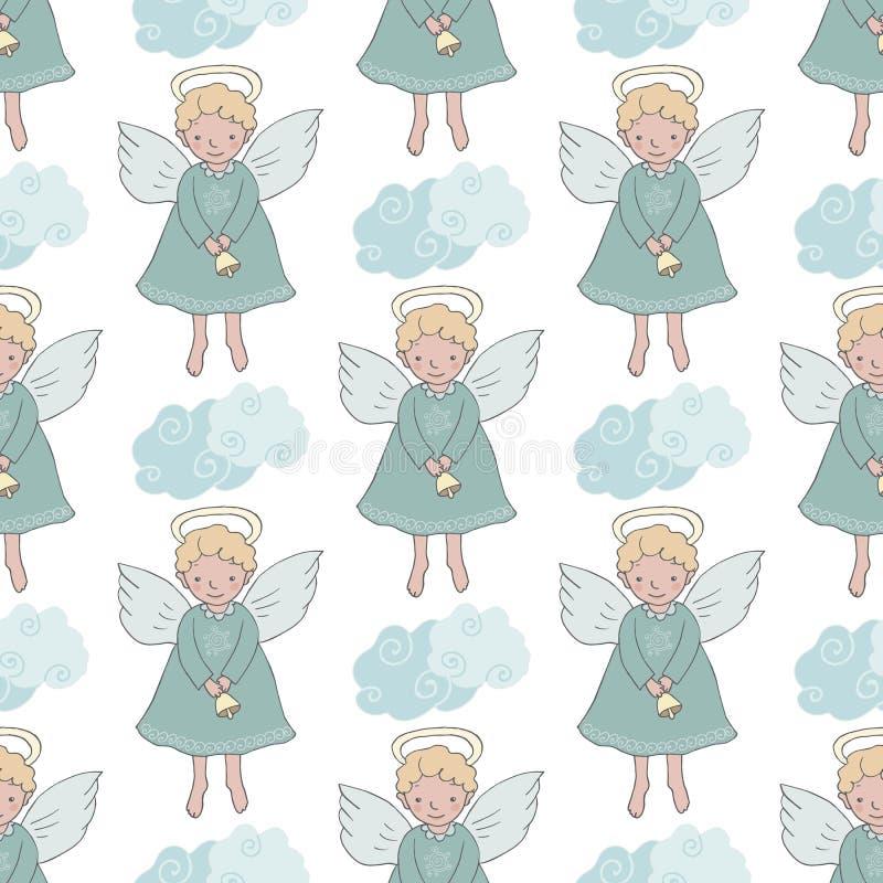 Sömlös modell för jul med gulliga änglar med klockan royaltyfri illustrationer