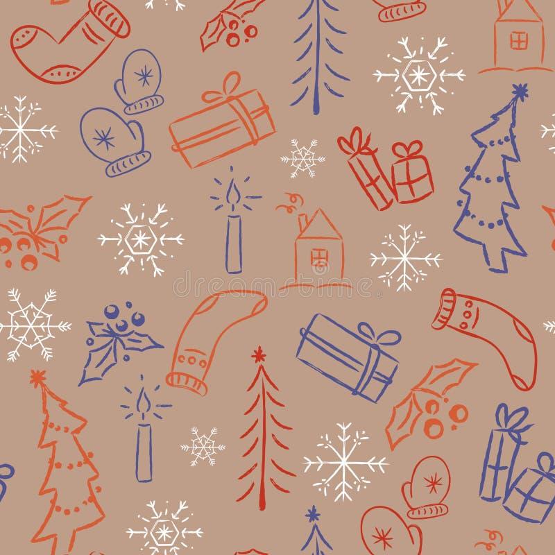 Sömlös modell för jul med gulliga klotter royaltyfri illustrationer