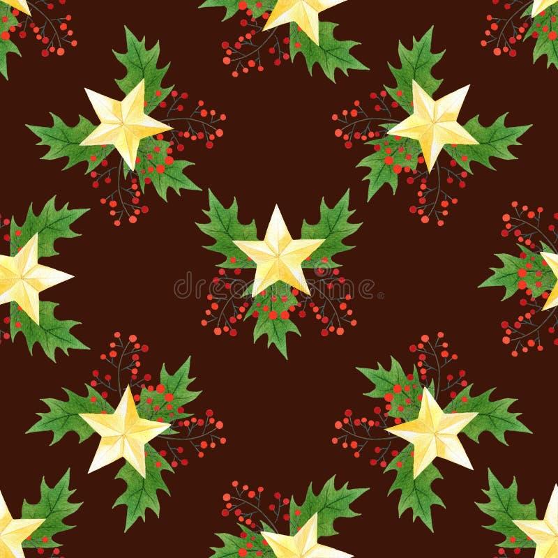 Sömlös modell för jul med järnekbär, sidor och guld- stjärnor på vinous bakgrund stil för handattraktionvattenfärg stock illustrationer